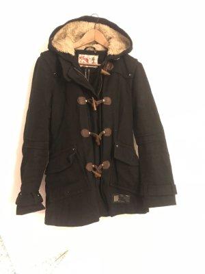 KHUJO Winterjacke schwarz Duffelcoat mit Teddyfell Kapuze