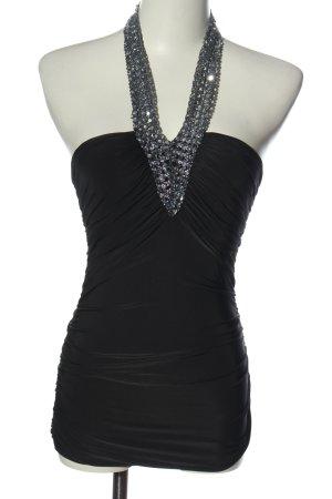KIAH Blusa sin espalda negro-color plata elegante