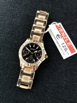 Kienzle Horloge met metalen riempje roségoud-zwart