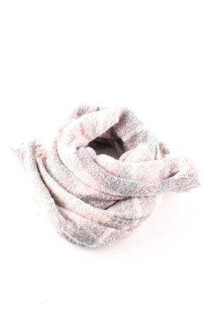 Kik Fransenschal hellgrau-pink Karomuster Casual-Look