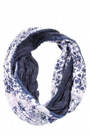 Kik Écharpe tube bleu-blanc imprimé allover style décontracté