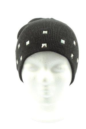 Kik Chapeau en tricot noir-argenté style décontracté