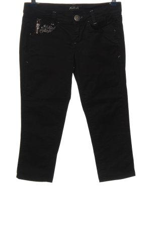 Killah Pantalon 3/4 noir lettrage brodé style décontracté