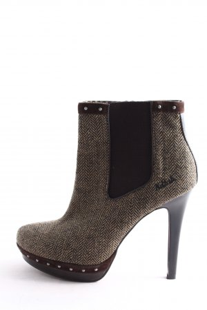 Killah Booties wollweiß-braun grafisches Muster Business-Look