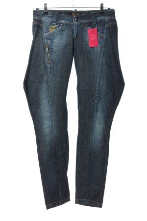 Killah Pantalone da equitazione blu caratteri ricamati stile casual