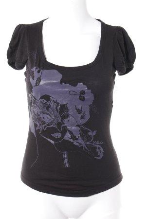 Killah T-Shirt schwarz-helllila Motivdruck Casual-Look
