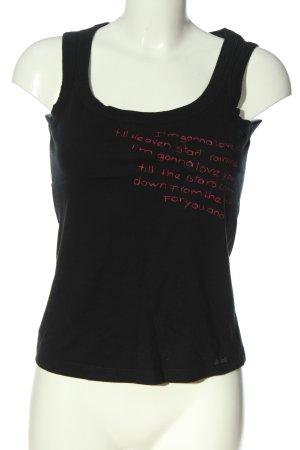 Killah Trägertop schwarz-pink Schriftzug gedruckt Casual-Look