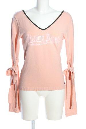 Killah V-Ausschnitt-Pullover pink-weiß Schriftzug gedruckt Casual-Look