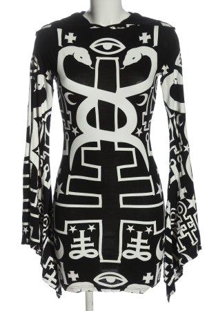 Killstar Robe à capuche noir-blanc imprimé allover style décontracté