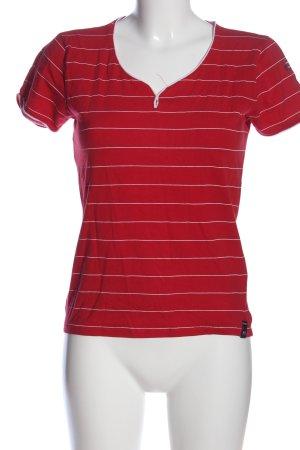 Killtec T-shirt rosso-bianco motivo a righe stile casual