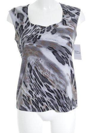 Kim & Co ärmellose Bluse grau-silberfarben Leomuster Casual-Look