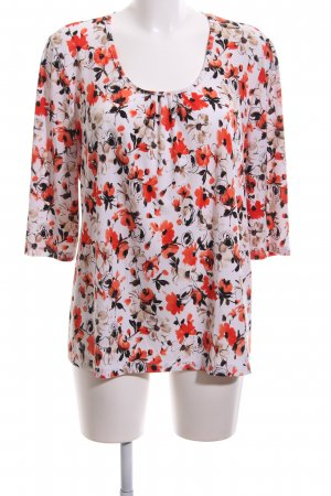 Kim & Co Langarm-Bluse rot-weiß Blumenmuster Casual-Look