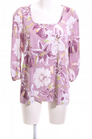 Kim & Co Langarm-Bluse pink-weiß Blumenmuster Casual-Look