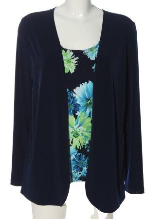 Kim & Co Langarm-Bluse blau-grün Blumenmuster Casual-Look