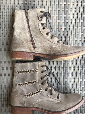 Kim Kay London Aanrijg laarzen licht beige-grijs-bruin Leer
