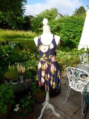 Kimchi Blue Kleid Sommerkleid Dunkelblau Blumen Gr. L