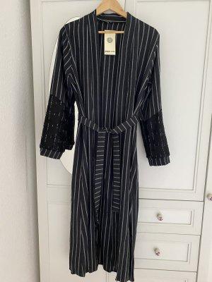 Kimono Blouse dark blue-white cotton