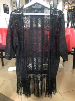 Kimono-Bluse mit Spitze und Fransen