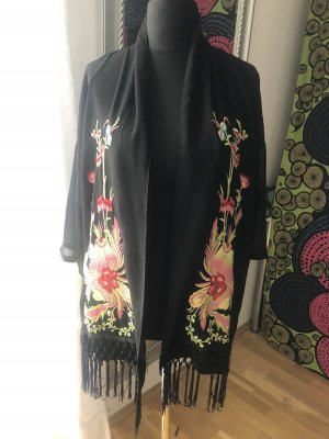 Kimono cardigan Asia bestickt Fransen