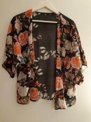 Blusa kimono nero-rosa