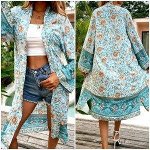 Kimono lichtbruin-turkoois