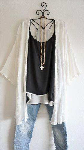 H&M Kimono blanco Viscosa