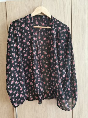 Kimono schwarz mit Blumen