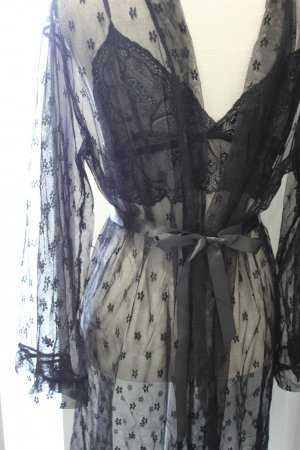 Kimono Spitze mit Satingürtel und BH Set Neu Gr M