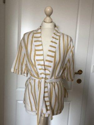 Kimono Streifen weiß/gelb