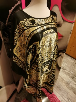 Kimono ♥ Überwurf, asiatisch, elegant seidig, leicht, Nachtkleid, schwarz-gold - XS/S 34/36