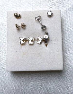Kinder Ohrstecker echt Silber 925 Pferdekopf und andere Herz 375er Gold