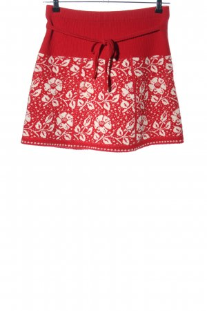 King louie Knitted Skirt red-natural white allover print casual look
