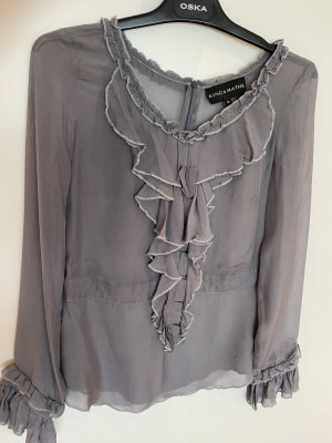 Kinga Mathe Silk Blouse slate-gray silk