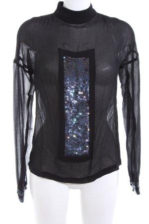 Kinga Mathe Transparenz-Bluse schwarz extravaganter Stil