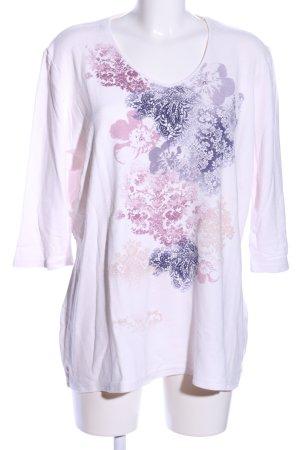 Kingfield V-Ausschnitt-Pullover pink-blau Blumenmuster Casual-Look