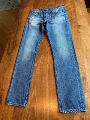 Kings Of Indigo, nachhaltige Jeans, Worker-Stil, ausgewaschen,  destroyed Details