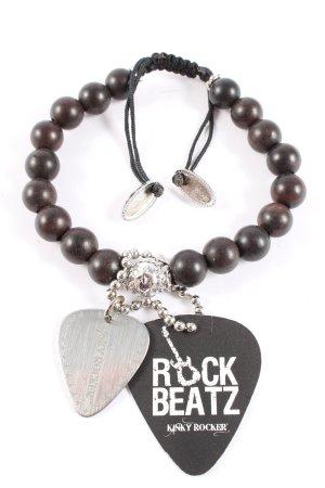 Kinky Rocker Perlenarmschmuck schwarz-silberfarben Party-Look