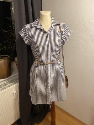 Kiomi Abito blusa camicia blu acciaio-bianco Cotone
