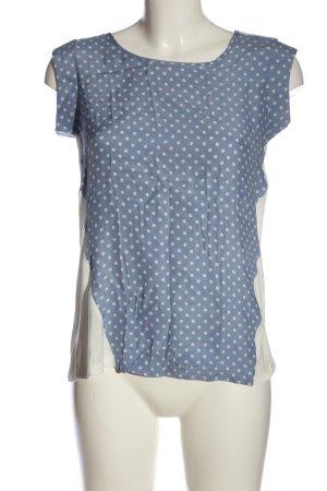 Kiomi Kurzarm-Bluse blau-weiß Punktemuster Casual-Look