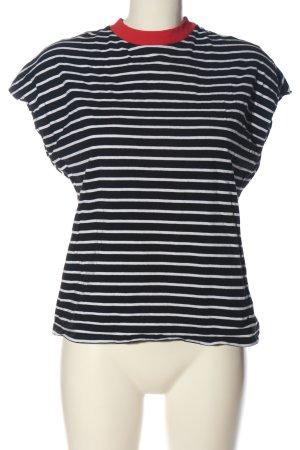 Kiomi Maglietta a righe nero-bianco stampa integrale stile casual
