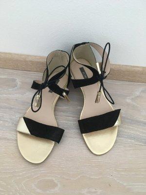 Kiomi Sandalen Sandalette Leder schwarz gold Gr. 37