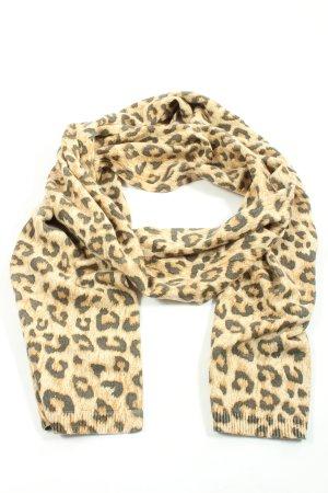 Kiomi Bufanda de punto negro-blanco puro estampado de leopardo look casual