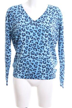 Kiomi V-Neck Shirt blue-black animal pattern casual look