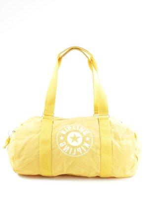 Kipling Bolsa de gimnasio amarillo pálido-blanco estampado temático