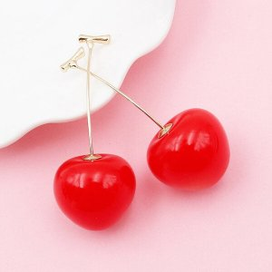 Ear stud gold-colored-red metal