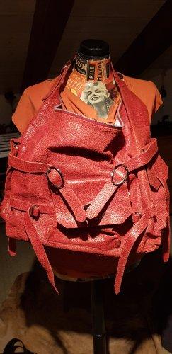 Kirschrote große Lederhandtasche