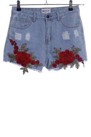 kiss THE SKY Jeansshorts blau-rot Blumenmuster Elegant