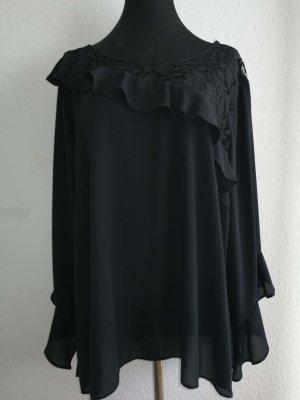 KITANA ITALY Damen Chiffon Bluse schwarz Gr. 48/50