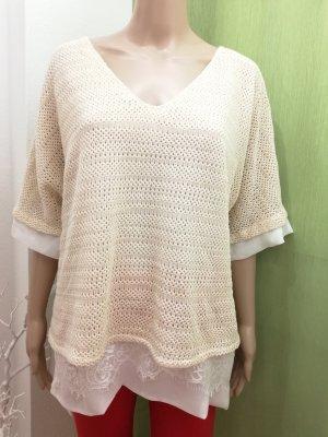 KITANA ITALY Damen Pullover mit Bluseneisatz Beige Gr. 46 48
