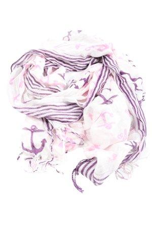 KJ Bufanda de flecos blanco-lila estampado gráfico look casual